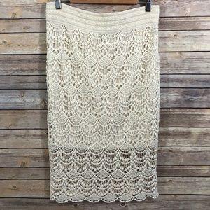 Maurice's Cream Lace Pencil Skirt Size Medium